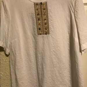 Beige Tunic with button detailing on bib